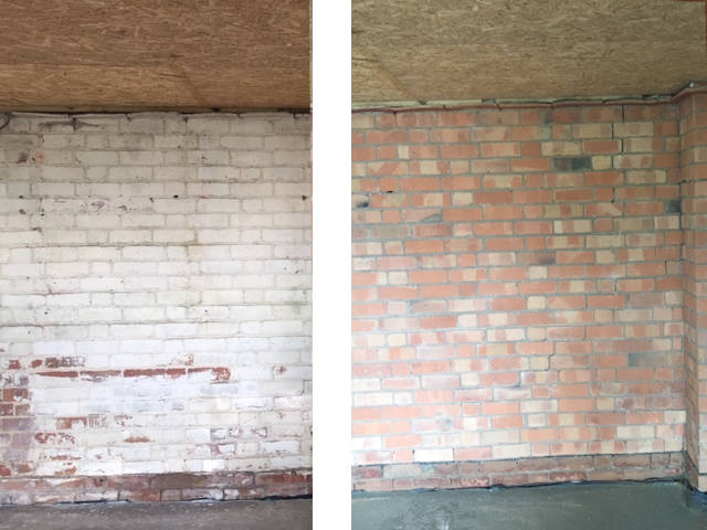 Image of Before and after image of paint removal by sandblasting