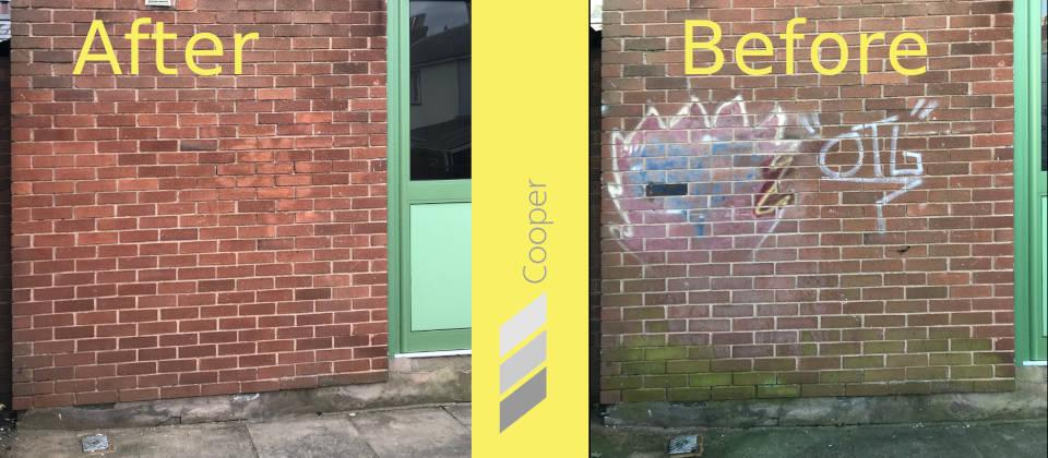 Image details: Graffiti removal in action