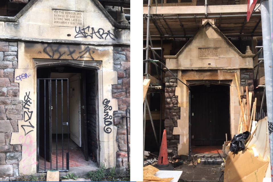 Image of Before and After Images of Superheated Steam Graffiti Removal
